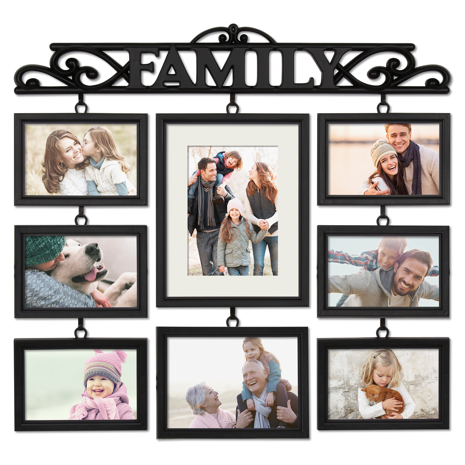 Mainstays 8 Opening Family Collage Photo Frame - Black