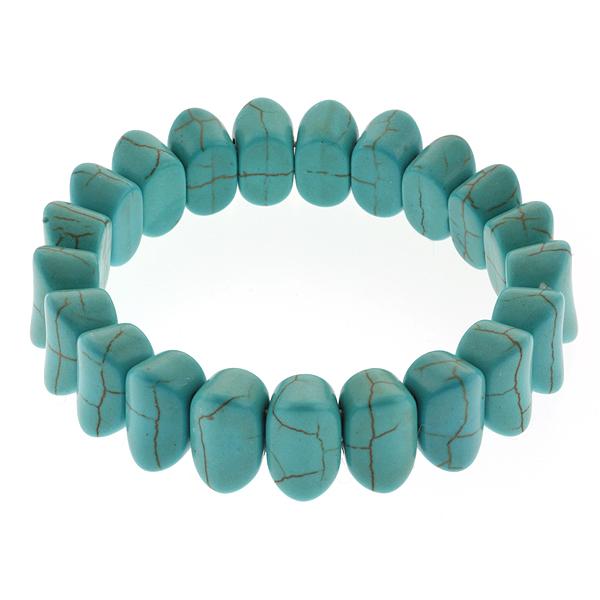 "7.5"" Simulated Turquoise Howlite Beads Stretchy Bangle Bracelet 14MM"