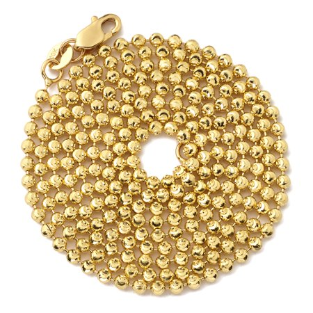 Bead Necklaces Patterns - LOVEBLING 10K Yellow Gold 2mm Italian Moon Cut Bead & Bar Chain Necklace (26