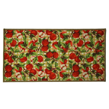 Picnic Apple 20x40 Rectangle Kitchen Rug, Area Rug, Mat, Carpet, Non-Skid Latex Back ()