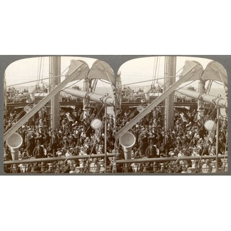 Immigrants On Ship 1905 Nimmigrants On The Steerage Deck Of An Ocean Steamer SS Konigin Luise Leaving Bremen For America Photograph 1905 Rolled Canvas Art -  (24 x 36)