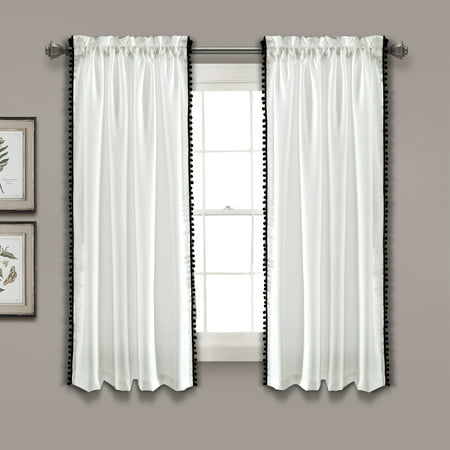 "50""x63"" Pom Pom Window Curtain Panel Black - Lush Décor"