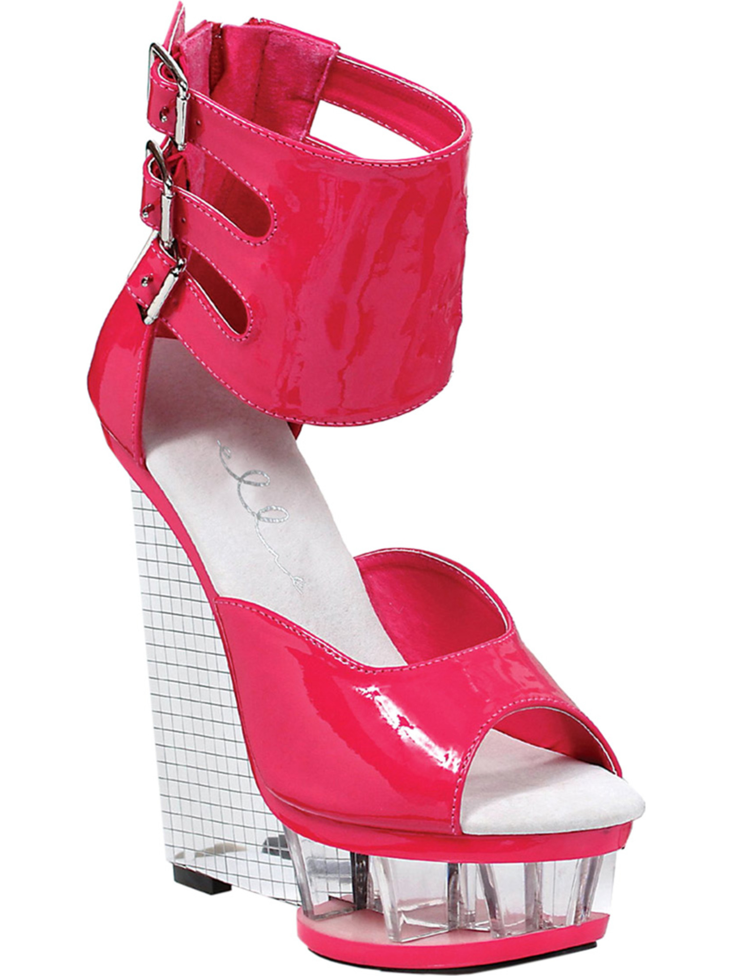 Shining Silver Mirror Ball 6 Inch  Wedge Heels with Hot Pink Patent Ankle Cuff