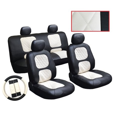 13 Piece Luxury Diamond Stitch Pattern Leatherette Honda Black And White Seat Cover Set   2 Front Seats  Rear Bench  Steering Wheel Cover  Seat Belt Pads  Usa  Brand Unique Imports