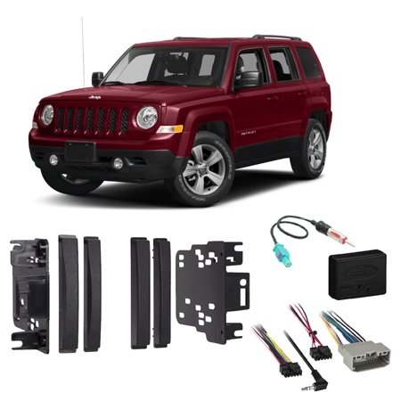 Packaged Premium Stereo (Jeep Patriot 2009-2017 Double DIN Stereo Harness Radio Install Dash Kit Package)