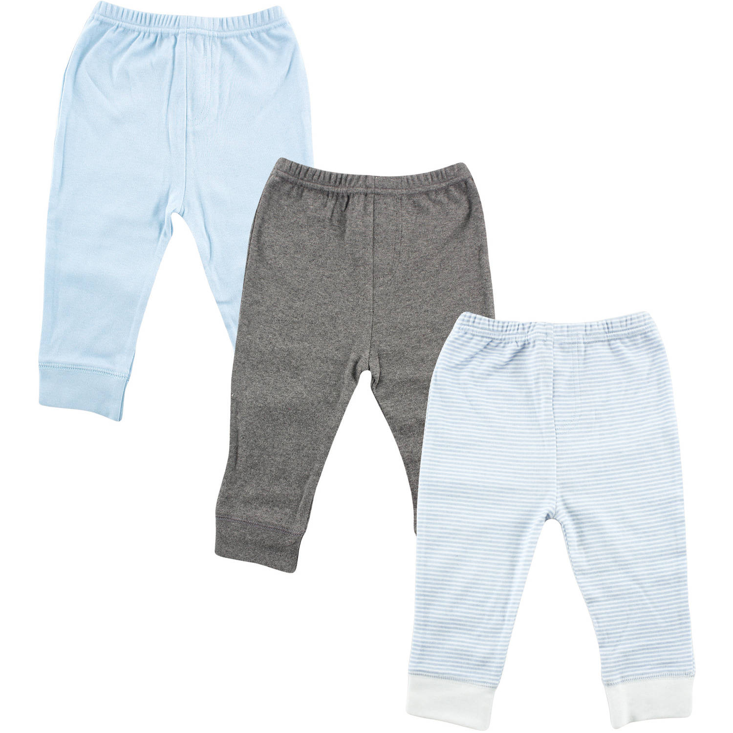 Luvable Friends Newborn Baby Boys Tapered Ankle 3 Pack Pant - Lt Blue Stripe