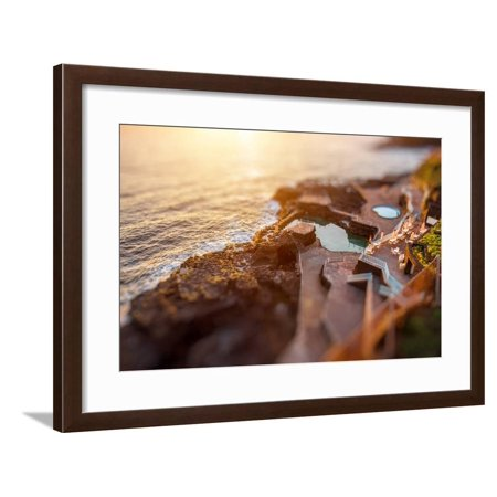 Natural Pools in Charco Azul Resort on La Palma Island on the Sunrise in Spain. Tilt-Shift Effect Framed Print Wall Art By RossHelen