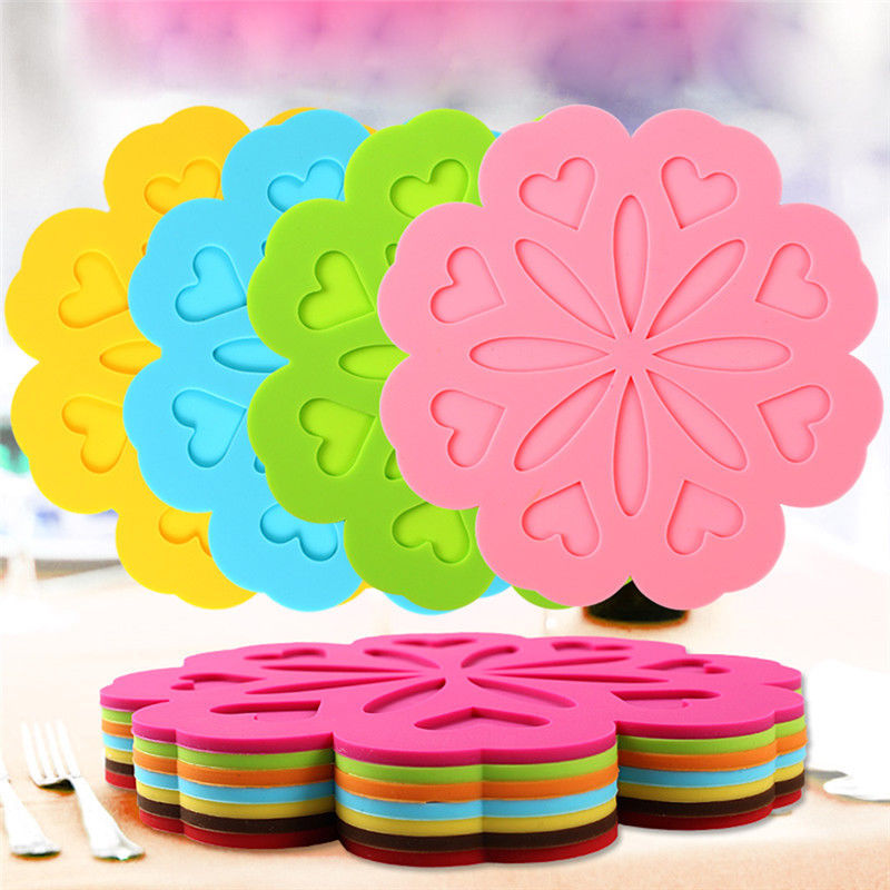 Micelec Fashion Round Flower Silicone Pad Kitchen Dine Heat Insulation Mat Table Coaster