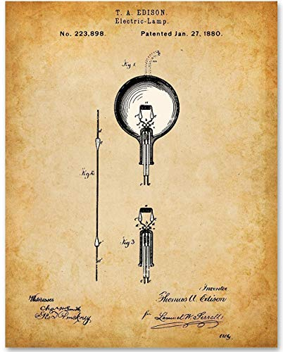 Unframed Science Poster Art Gifts Thomas Edison Patent Prints Set Of 3