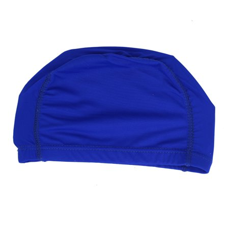 Unique Bargains Blue Stretch Polyester Dome Shaped Swimmer Swim Swimming Cap Hat - Polyester Dome