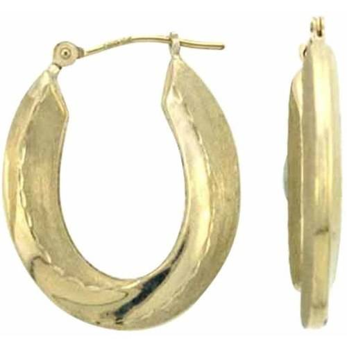 Simply Gold 10kt Gold Scallop Oval Hoop Earrings