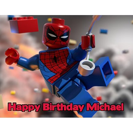 1 4 Sheet Lego Spiderman Edible Frosting Cake Topper 77731