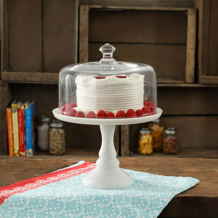 The Pioneer Woman Timeless Beauty 10-Inch Milk White Cake Stand with Class Cover ()