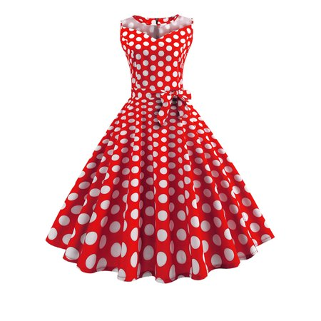 Women Retro Polka Dot Sleeveless 50s Party Casual Prom Pin Up Rockabilly Dress](50s Dress Up)