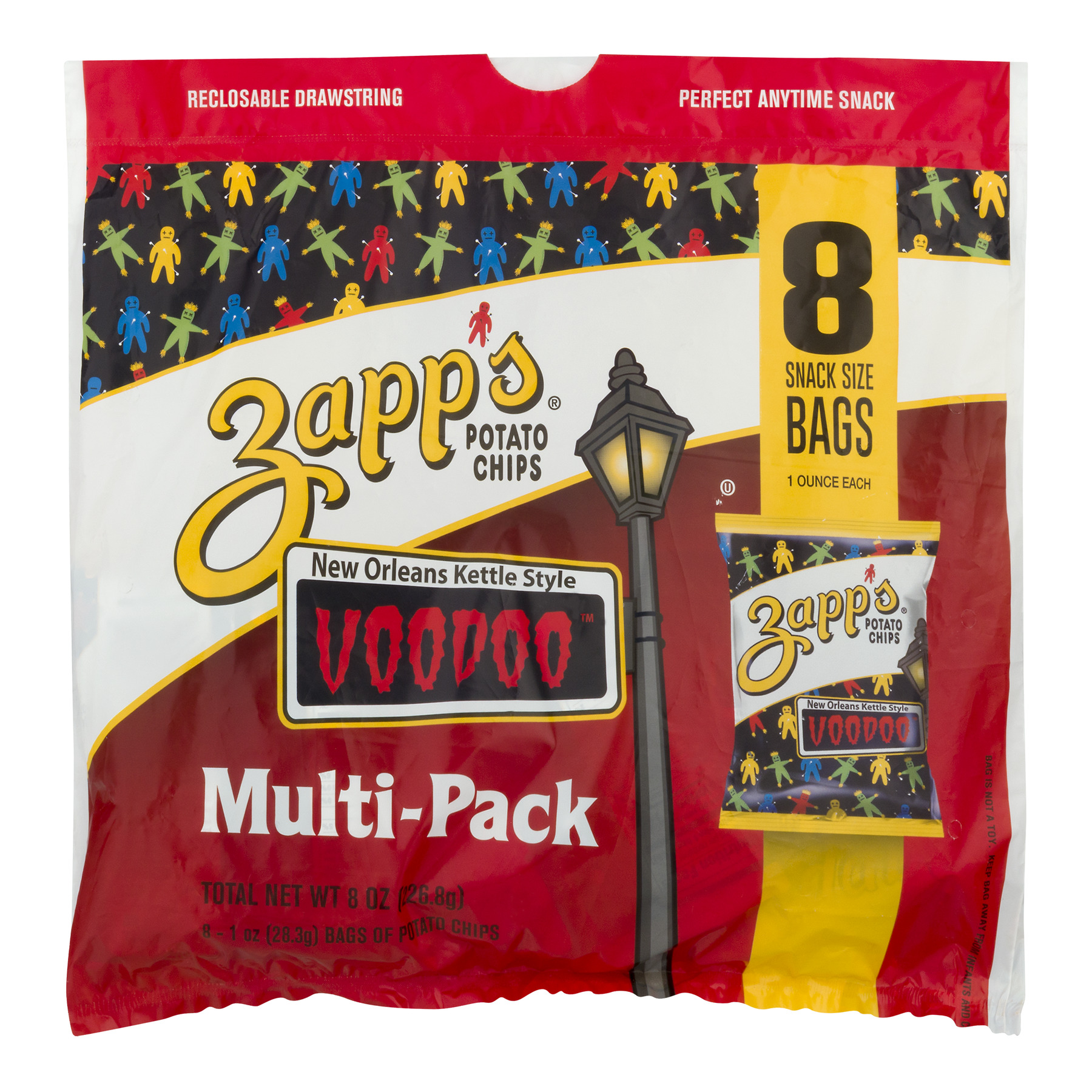 Zapp's New Orleans Kettle Style Potato Chips, Voodoo Multipack Sack, 8 Ct