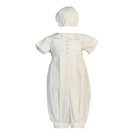 Baby Boys White Poly Cotton Long Romper Baptism Christening Set 12-18M