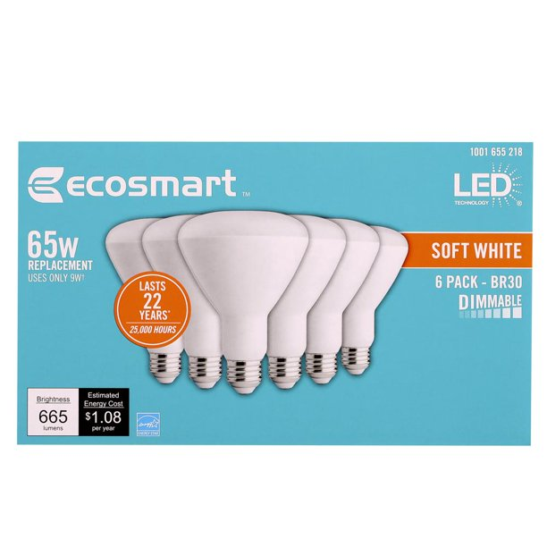 Ecosmart 65 Watt Equivalent Br30 Dimmable Energy Star Led Light Bulb Soft White 6 Pack Walmart Com Walmart Com