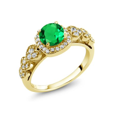 - 1.09 Ct Round Green Simulated Emerald 18K Yellow Gold Plated Silver Ring