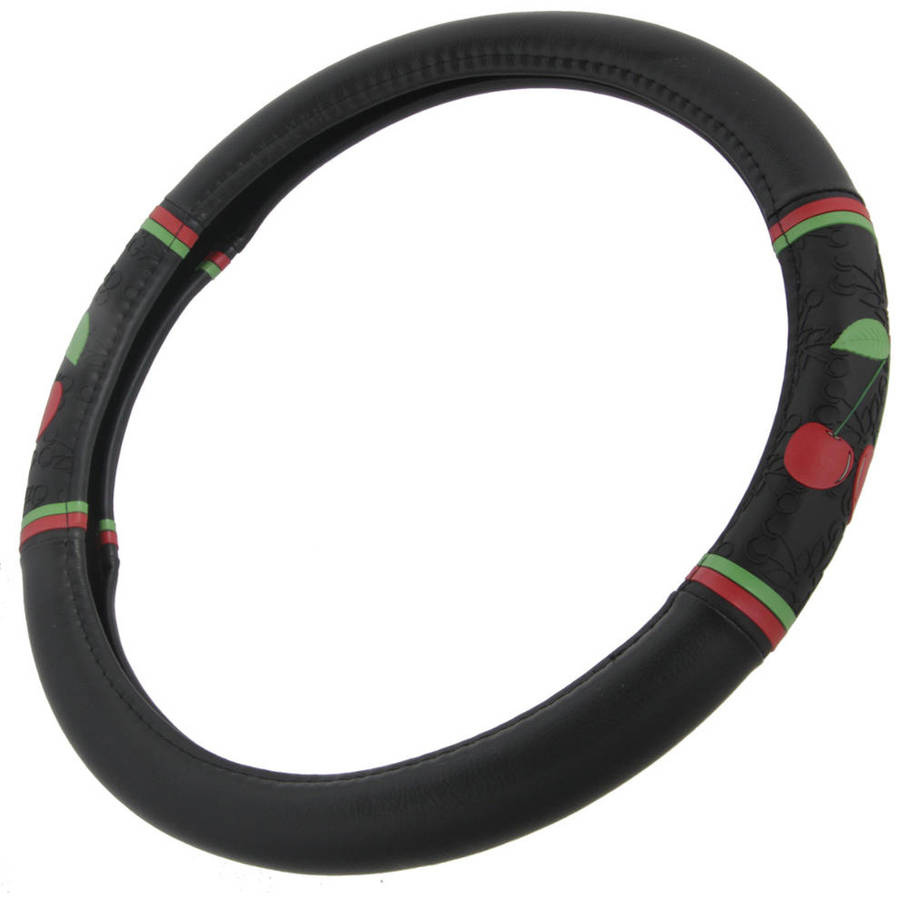 "BDK Cherry Pattern Car Steering Wheel Cover 14.5"" to 15.5"""