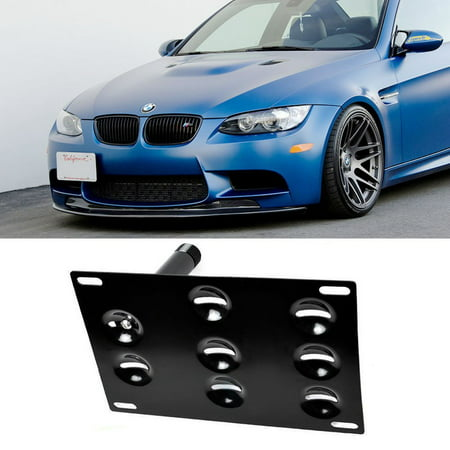 iJDMTOY Euro Style Front Bumper Tow Hole Adapter License Plate Mounting Bracket For BMW E82 E88 128i 135i 1M E39 E90 E91 E92 E93 328i 335i M3 X5 X6, etc