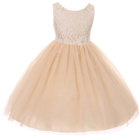 Little Girl Sleeveless Lace Bodice Illusion Tulle Easter Flower Girl Dress USA Champagne 2 KD 414 BNY (Sleeveless Illusion)