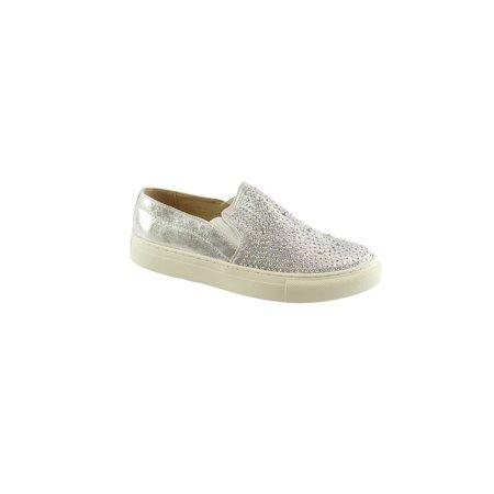 bdcc285450ea Liyu Adult Silver Stud Embellished Laceless Slip-On Fashion Sneakers -  Walmart.com