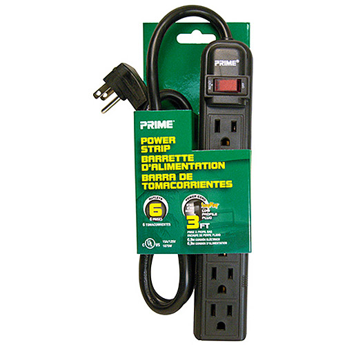 Prime Wire 6-Outlet Power Strip with 3' Cord, Right Angle Plug, Black