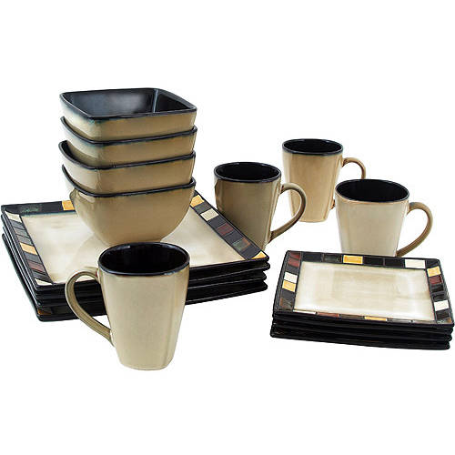 Better Homes and Gardens Mosaic Tile Square 16 Piece Dinnerware