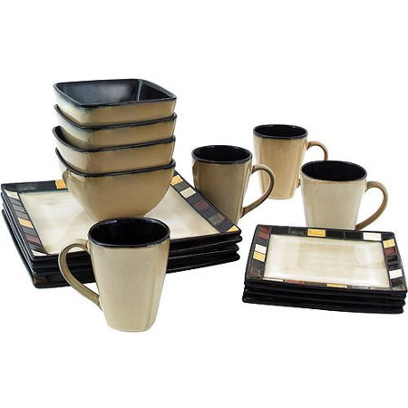 and gardens mosaic tile square 16 piece dinnerware set
