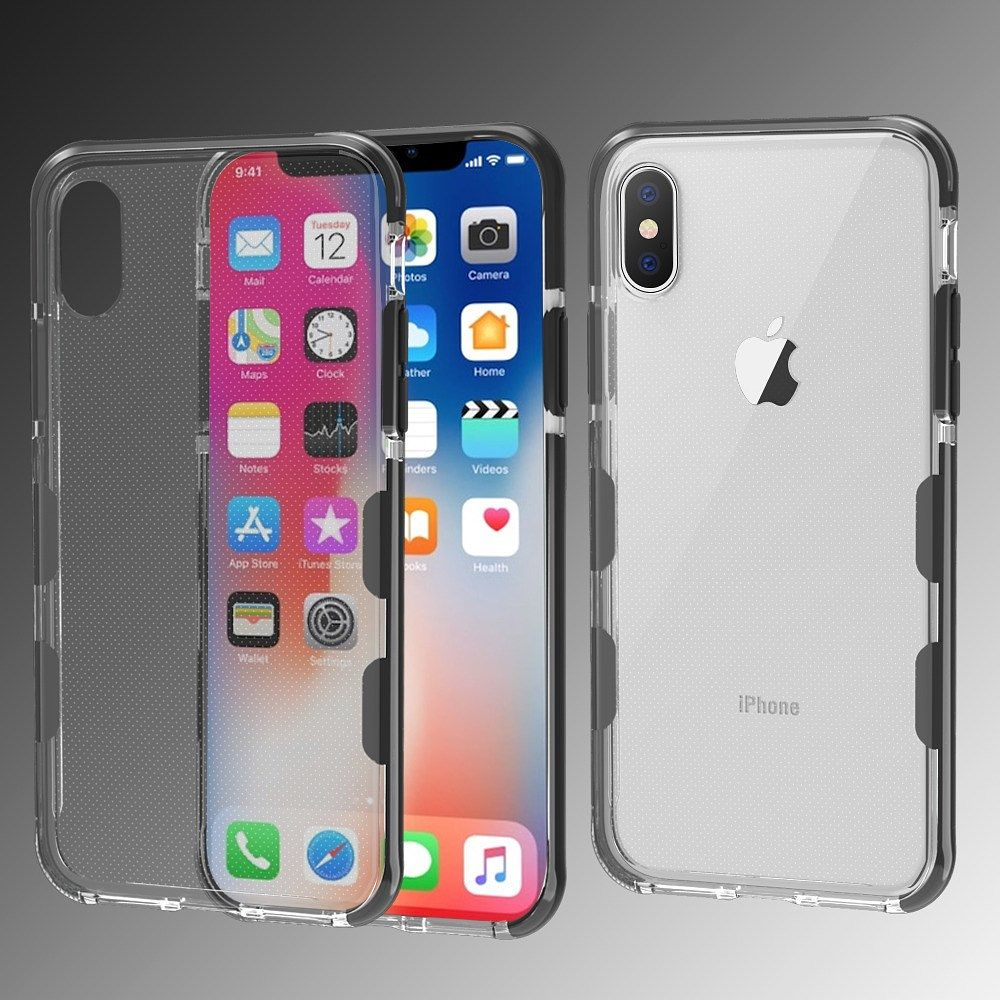 iPhone X Case Screen Protector, by Insten Bumper Rubber TPU Candy Skin Case Cover For Apple iPhone X, Clear/Black (Combo with Glass Screen Protector) - image 3 of 3