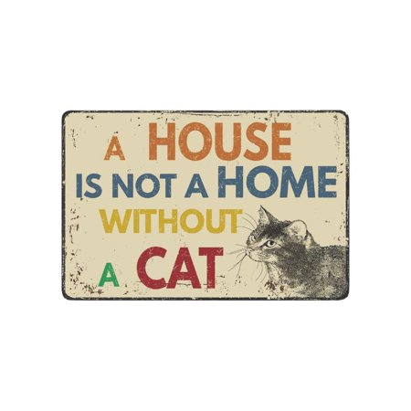 CADecor Brown Vintage Cat Door Mat Home Decor, Funny Quote Indoor Outdoor Entrance Doormat 23.6x15.7 Inches Funny Indoor Outdoor Door Mat