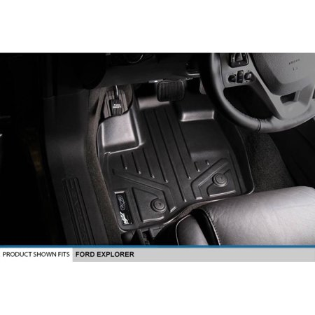Maxliner 2017 Ford Explorer Floor Mats 2 Row Set And Maxtray Cargo Liner W O 2Nd Row Center Console Black A0245 B0082 D0082