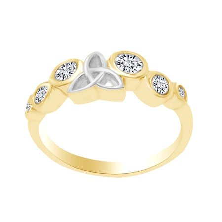 - Round Shape White Cubic Zirconia Two Tone Celtic Wedding Band Ring In 10k Solid Yellow Gold Ring Size-4
