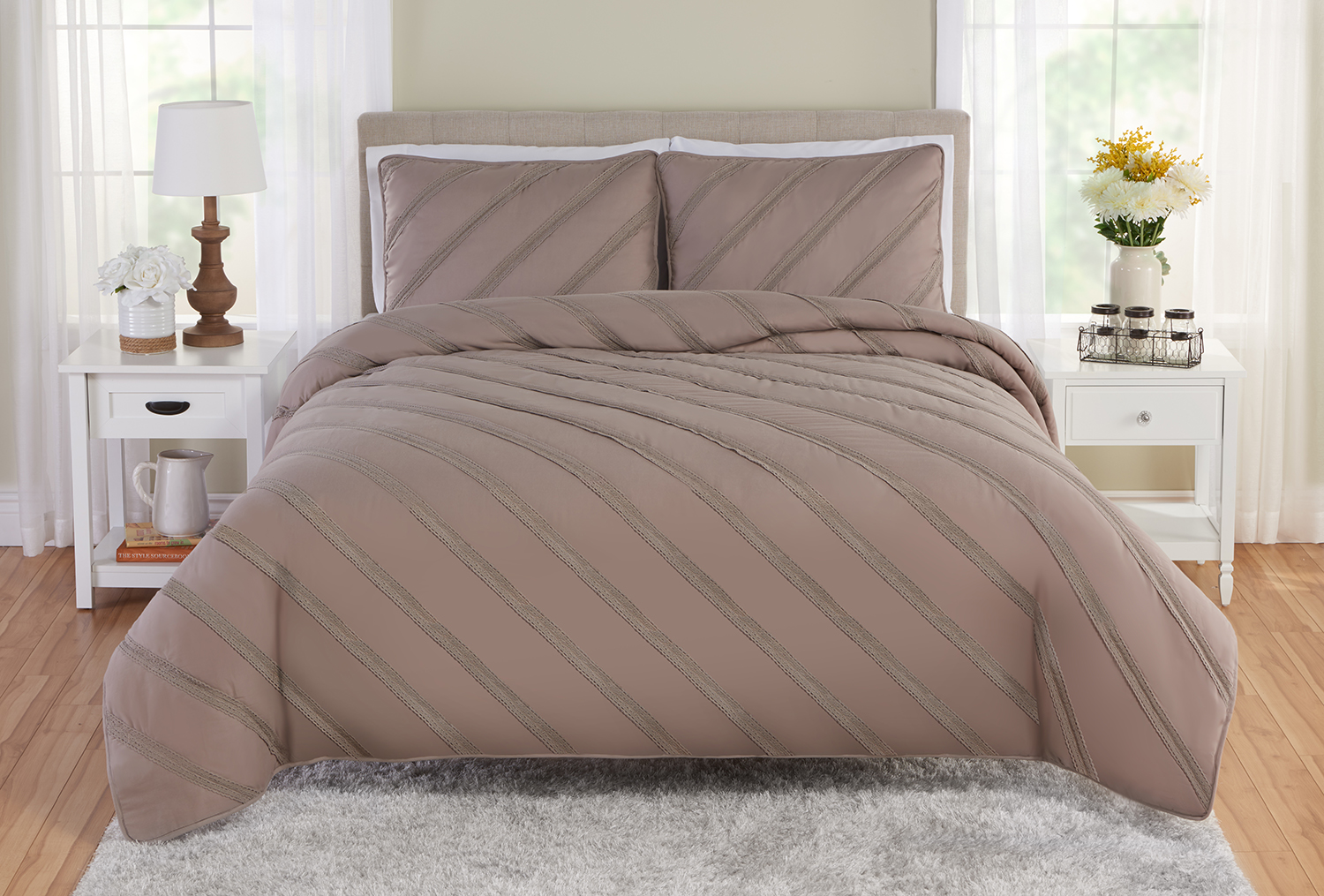 Better Homes and Gardens Textured Diagonal Stripe Quilt & Sham Set by Beco Industries