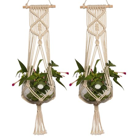 Design Wall Planter - 2-pack Plant Hanger, Pot Holder Macrame Planter Hanging Basket Cotton Rope Braided Craft Wall Art vintage-inspired 37 Inch