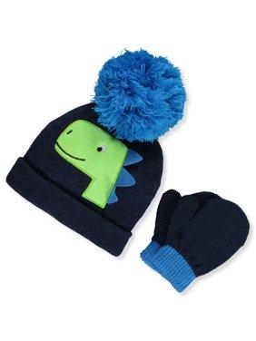 First Steps by Stepping Stones Baby Boys' Dinosaur Pom Pom Knit Hat & Mittens Set