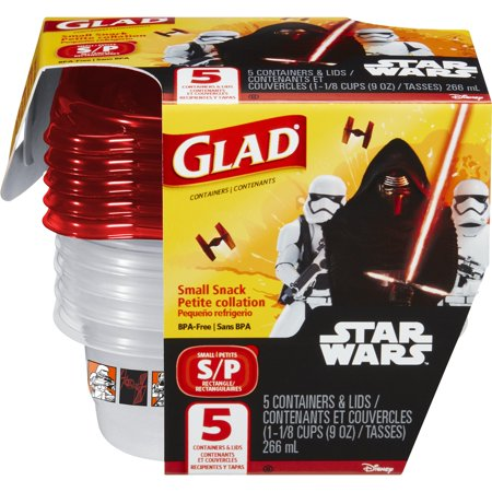 Glad Food Storage Containers   Snack Containers   Star Wars   9 Oz   5 Ct