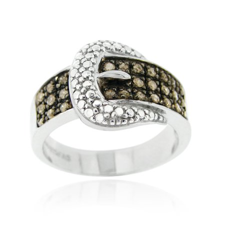 Sterling Silver 1/4CT Champagne Diamond Belt Buckle Ring