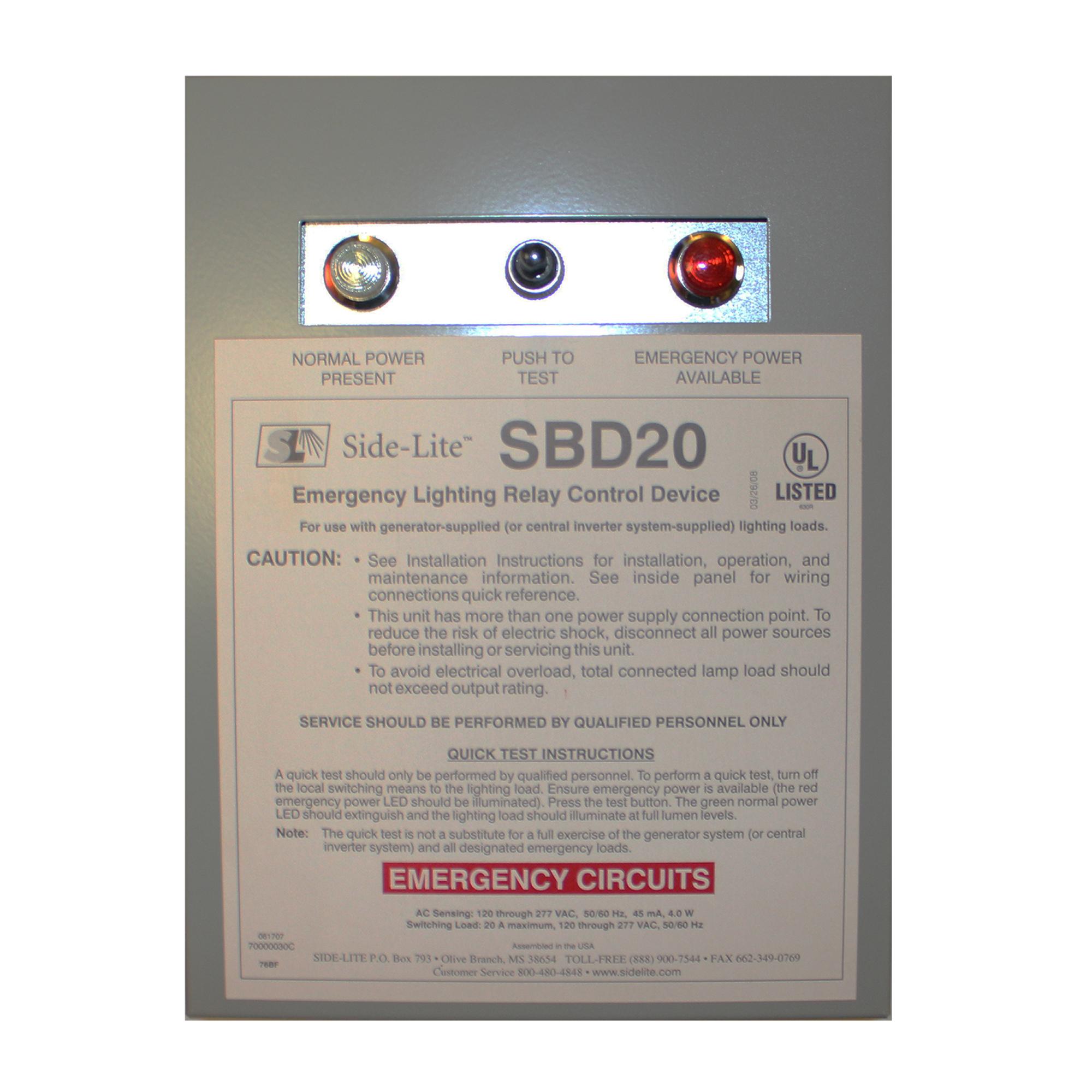 Bodine Side-Lite SDB20 Emergency Lighting Relay Control Device, ELCU on power wiring, subpanel wiring, load center wiring, septic tank wiring, swimming pool wiring, lighting wiring,