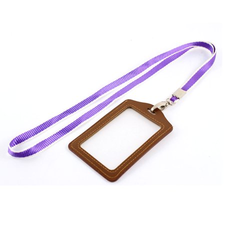 Unique Bargains Lanyard Faux Leather Vertical Office Work ID Card Tag Badge Holder Brown Purple