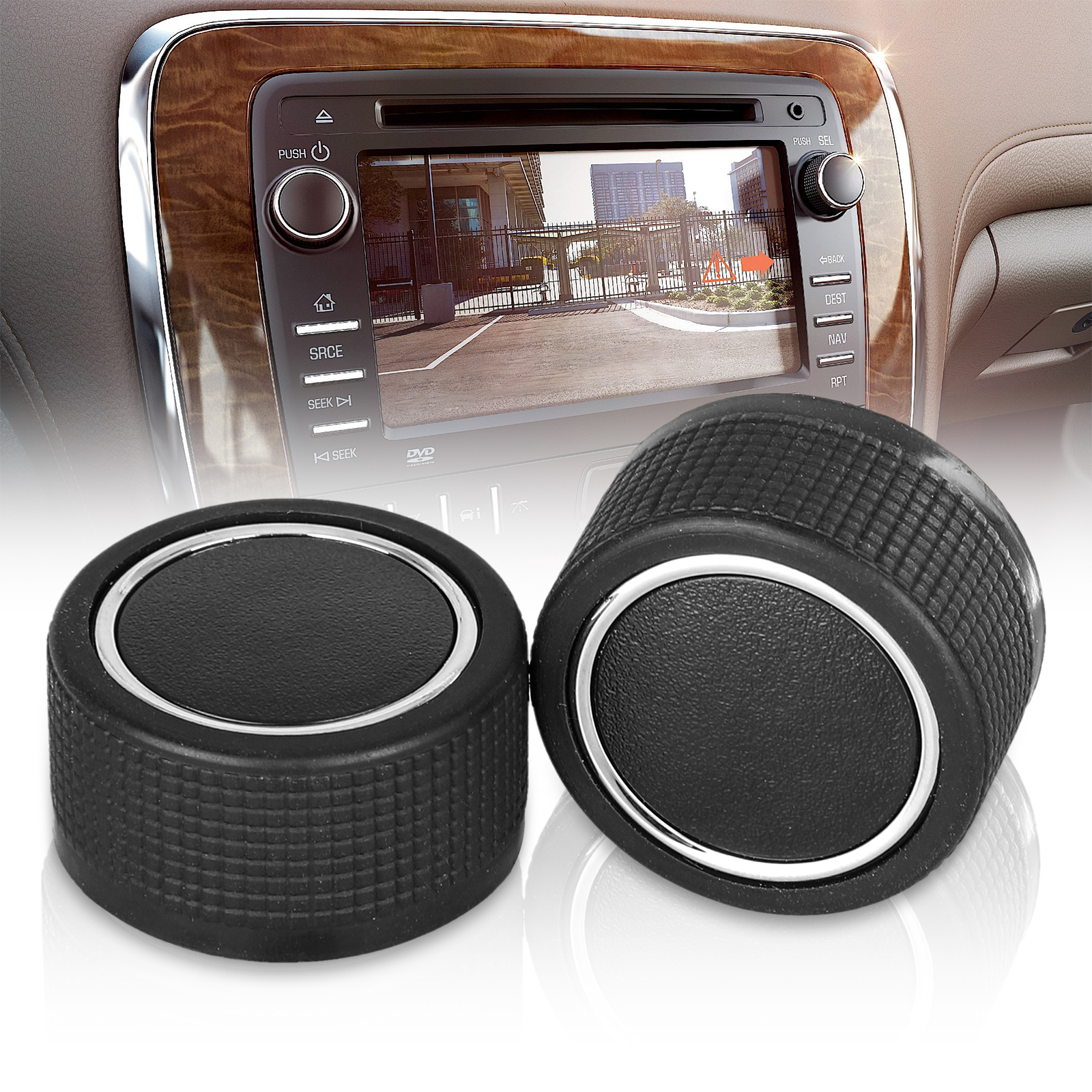 Rear Radio Volume Control Knob Pair Chrome FOR Buick Cadillac Chevy GMC US STOCK