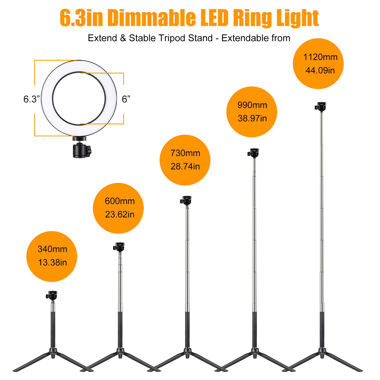 Remote Control Peaceip US Ring Light Kit-13in External 20W-5500k Dimmable LED Illuminator for YouTube Makeup Mirror Selfie Portrait with 71in Light Stand Phone Clip