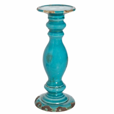 Pillar styled Cora Candle Holder, Turquoise -Tall ()