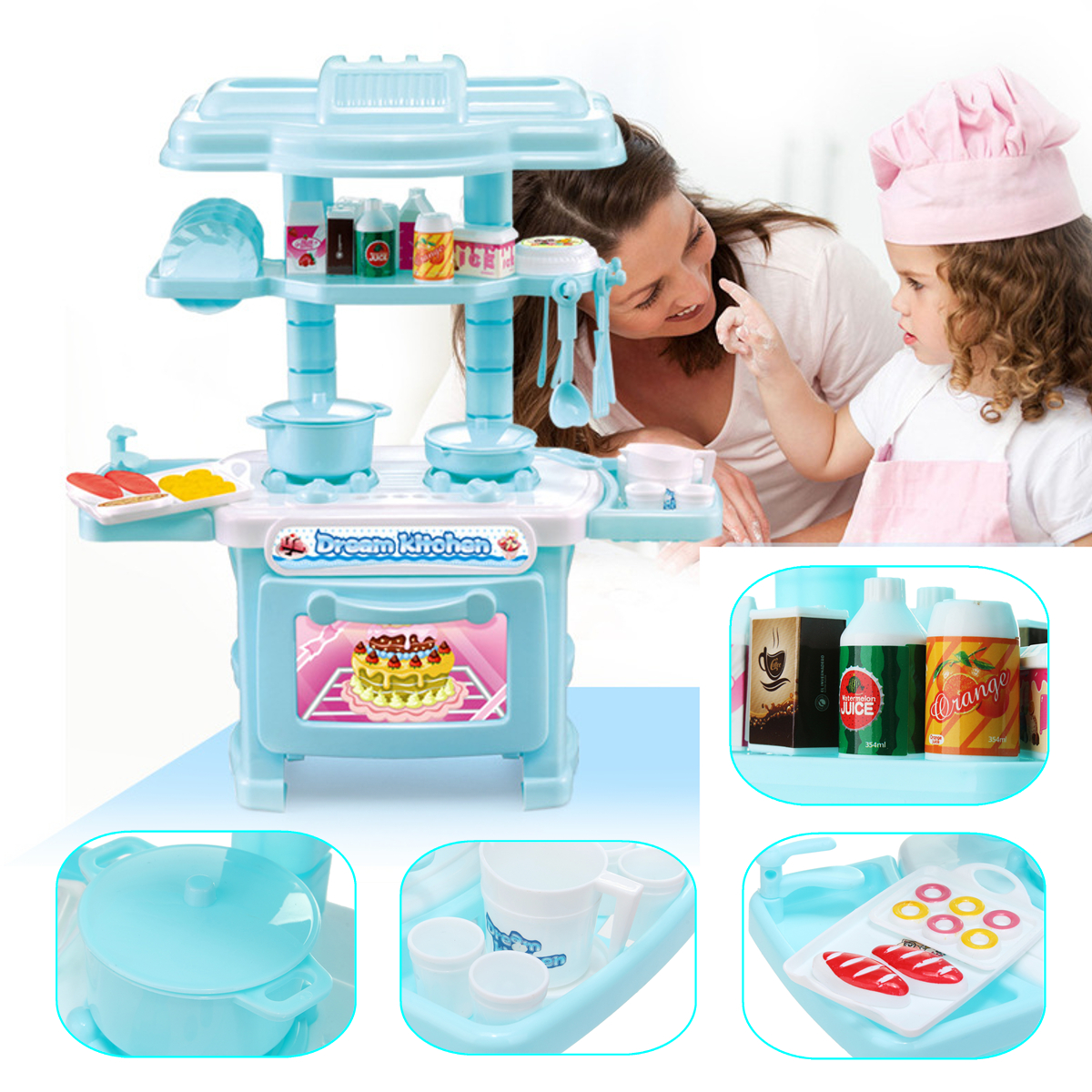 Fun Simulation Appliance Children's Toy Cooking Play Set Kitchen Pretend Play Toys Set Appliance for Baby Kids Both Boys and Girls Perfect for Your Little Chef (Pink/Blue)