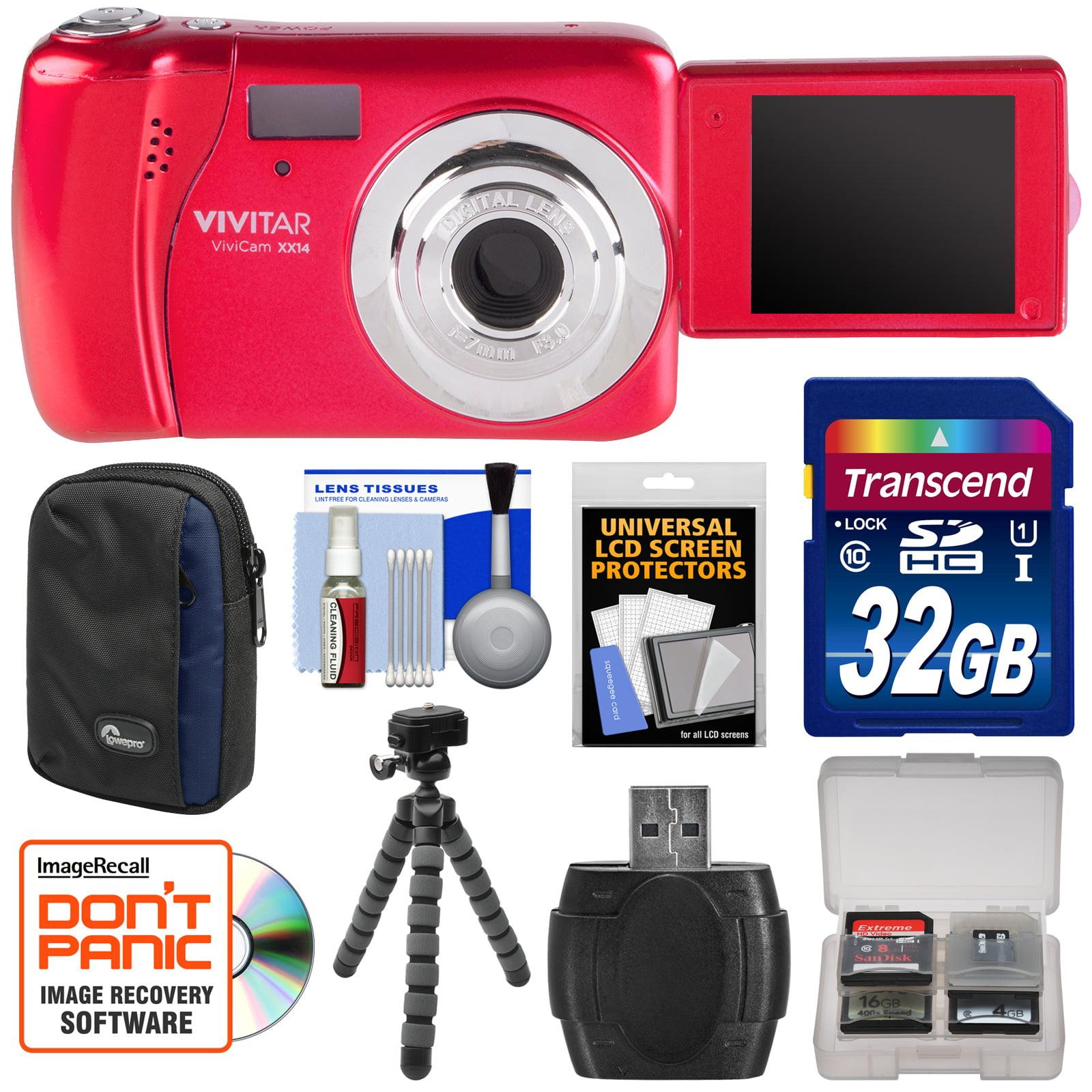 Vivitar ViviCam VXX14 Selfie Digital Camera (Red) with 32GB Card + Case + Flex Tripod + Reader + Kit by Vivitar