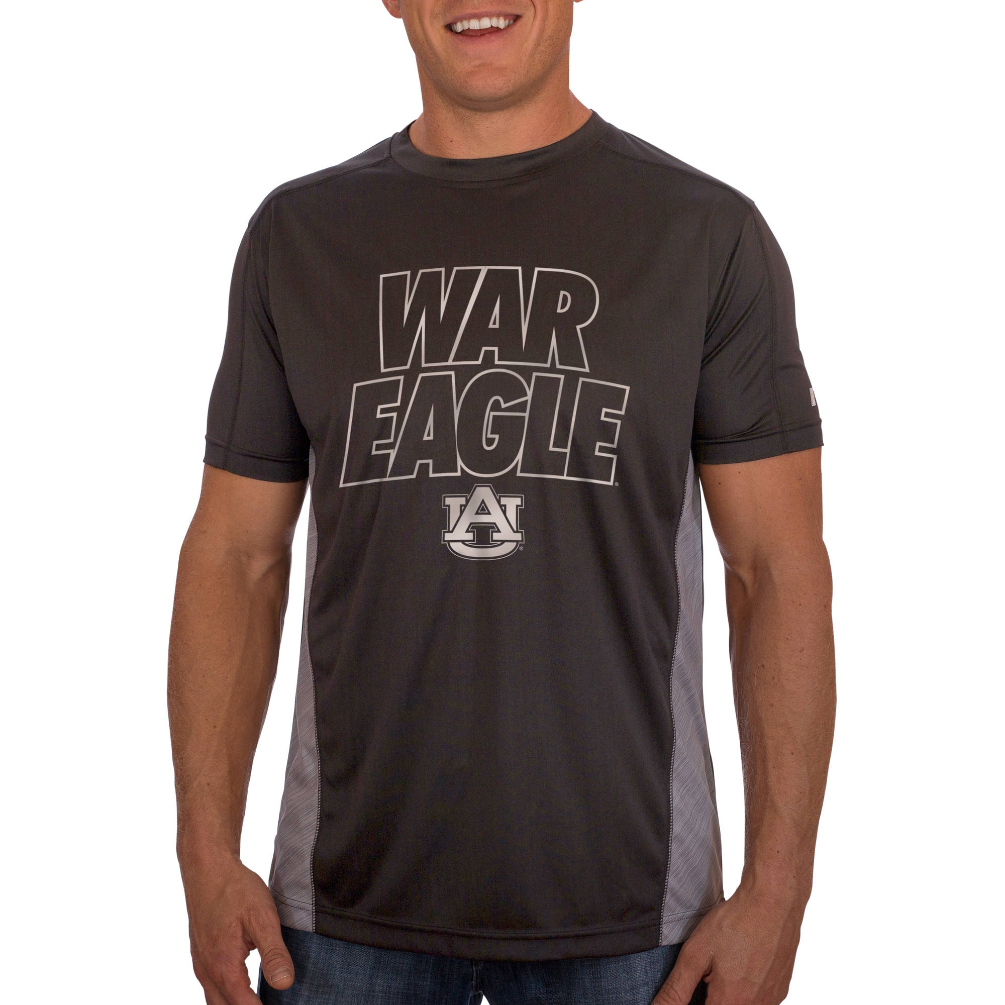 Russell NCAA Auburn Tigers Men's Athletic Fit Black / Storm Gray Impact Tee
