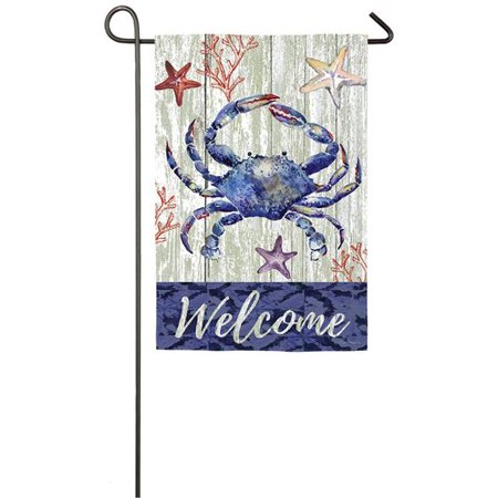 Evergreen Flag & Garden Welcome Crab 2-Sided Suede 1'6 x 1'0.5 ft. Garden Flag