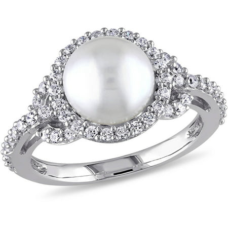 8.5-9mm White Cultured Freshwater Pearl and 1 Carat T.G.W Cubic Zirconia Halo Sterling Silver Ring