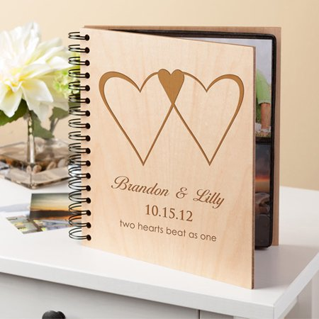 Personalized Two Hearts Wood Photo Album