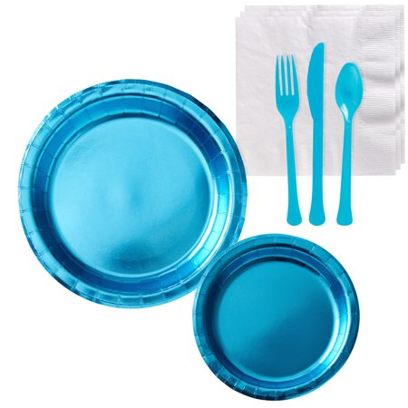 Party City Metallic Tableware Supplies for 16 Guests, Include Plates and Napkins, plus Utensils](Party City Whittier)